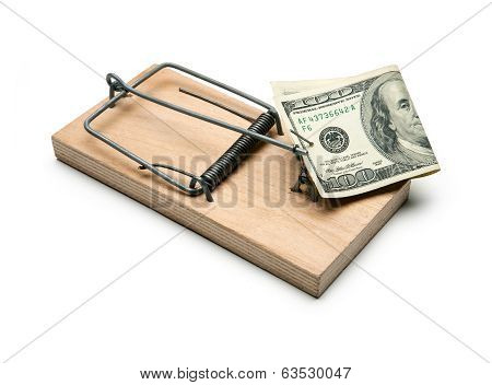 Money in a mousetrap. Mortgage