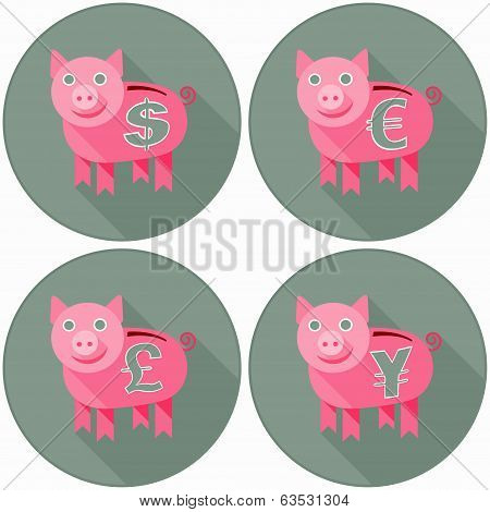 Icon Set With Pink Piggy Banks