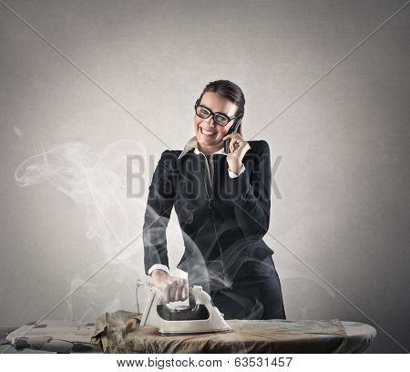 ironing businesswoman