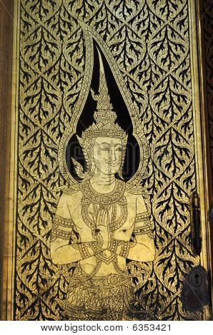 Puerta del Ángel antiguo Mural de Tailandia