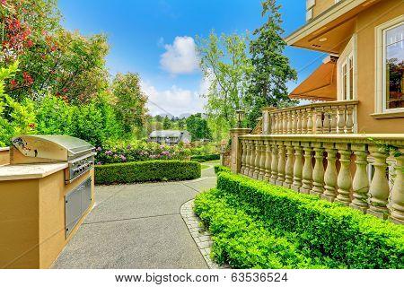 Luxury House Exterior. Walkway