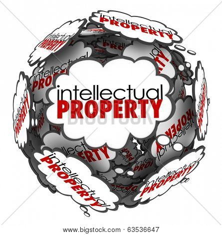 Intellectual Property Words Thought Clouds Creative Ideas Brainstorming
