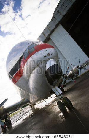 Vintage Prop Plane Stands Tarmac Airport Hangar Unusual Airplane
