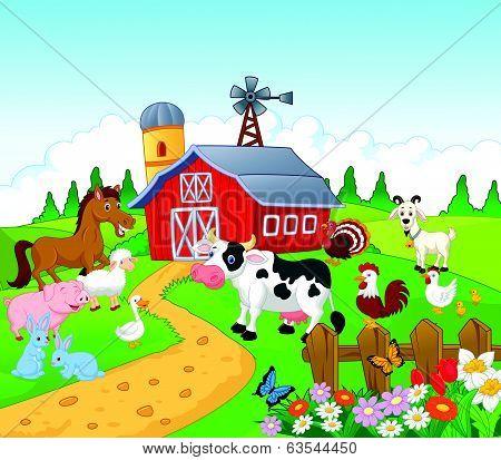 Cartoon Farm background with animals
