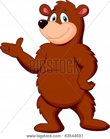 Cute brown bear cartoon presenting
