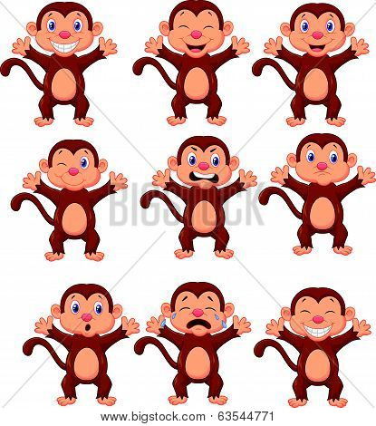 Cute monkeys cartoon in various expression