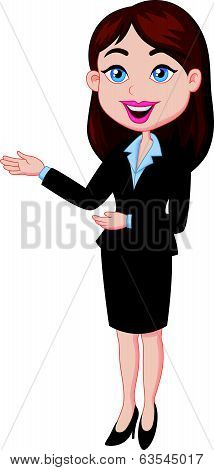 Smiling business woman cartoon presenting