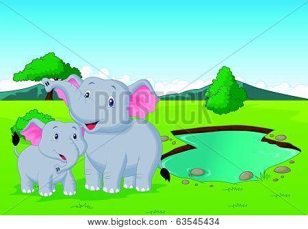 Cartoon elephant family near watering hole
