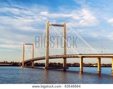 Scenic Cable Bridge In Washington.