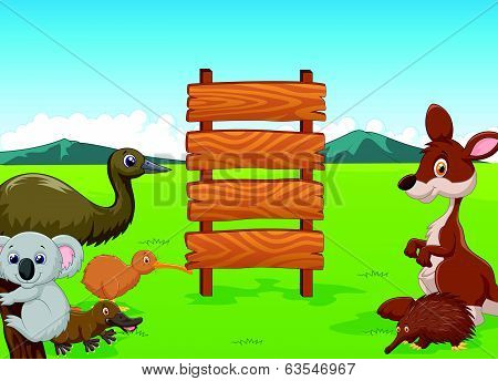 Wild Australia cartoon with wooden sign