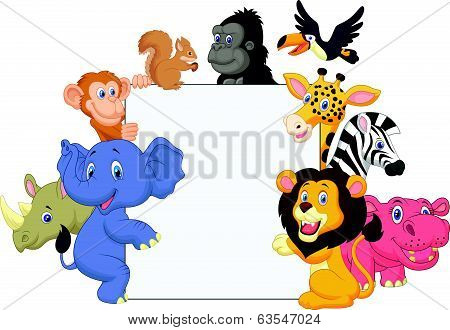 Cartoon wild animal holding blank sign