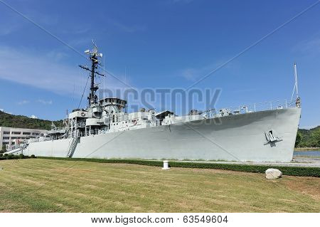 The battleship in the garden and blue sky