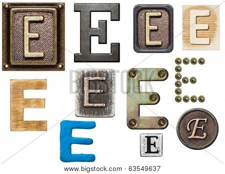 Alphabet made of wood, metal, plasticine. Letter E