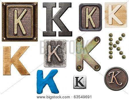 Alphabet made of wood, metal, plasticine. Letter K