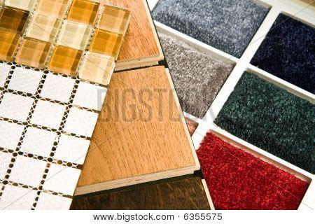 Teppich Holz und Fliesen Proben
