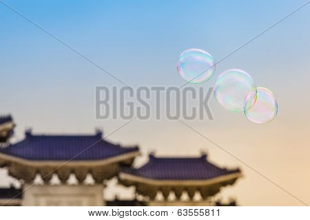 Funny Soap Bubbles at the Taiwan Sky