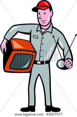 Tv Repairman Technician Cartoon