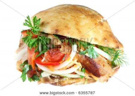 Doner Kebab On White.