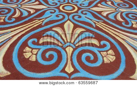 Pattern made with colored soils for Corpus Christi, Tenerife, Canary Islands, Spain