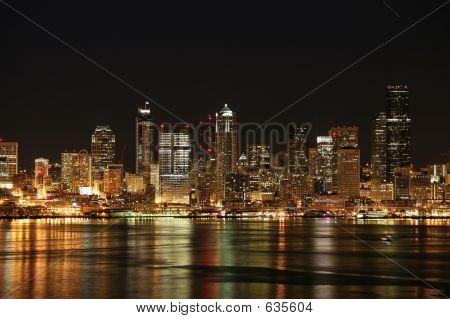 Night Skyline In Seattle