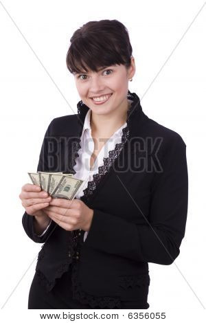 Business Woman Save Up Some Money And Smiling.