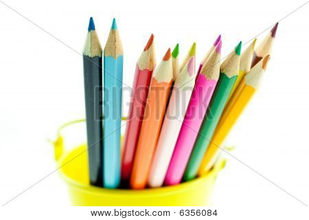 Crayons In Yellow Bucket