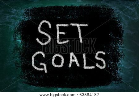 Set Goals Words On Grunge Background