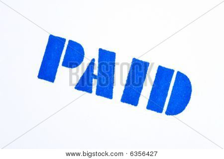 Blue Paid Stamp On White