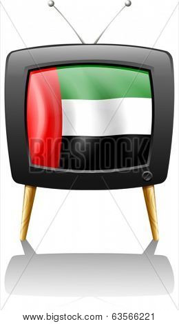 Illustration of a television with the UAE flag on a white background
