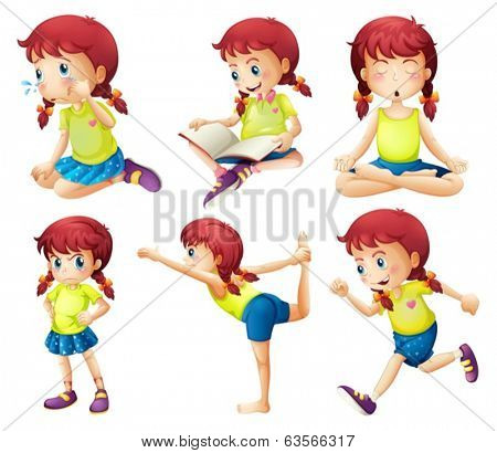Illustration of a young lady doing different activities on a white background