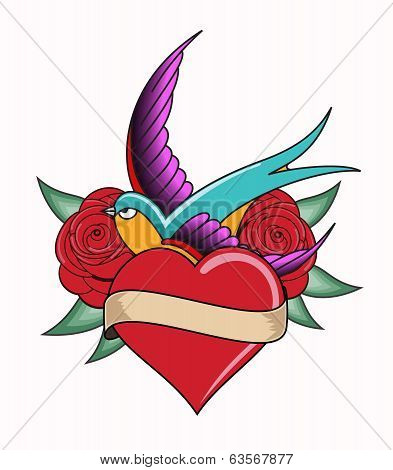 heart tattoo emblem with swallows. vector illustration