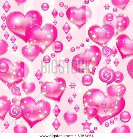 Valentine's pink hearts (seamless pattern)