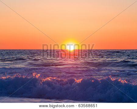 Sunset at Agios Ioannis beach in Lefkada Greece