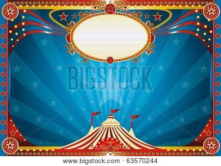 Horizontal Blue circus background. Horizontal circus background for your show.
