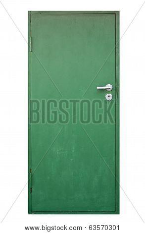 Green Doorisolated On White