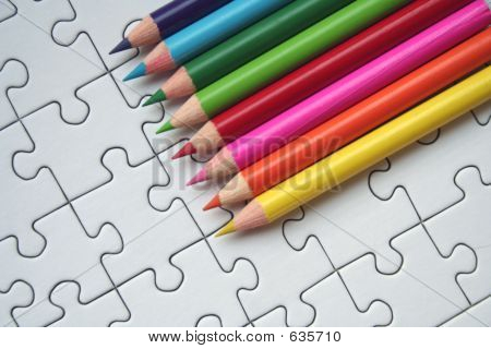 Pencils and jigsaw