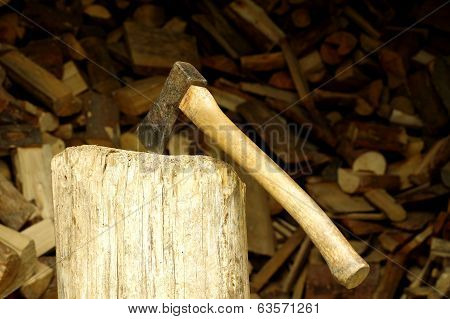ax in the woodshed
