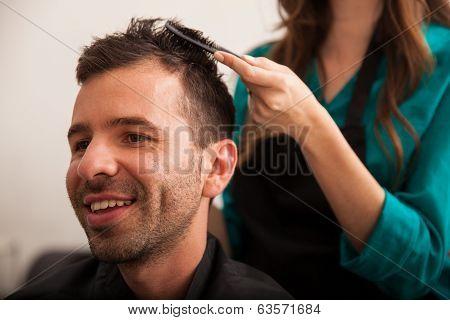 Happy Customer In A Hair Salon