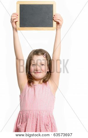 Smiling Happy Little Girl Holding Up A Blank Slate