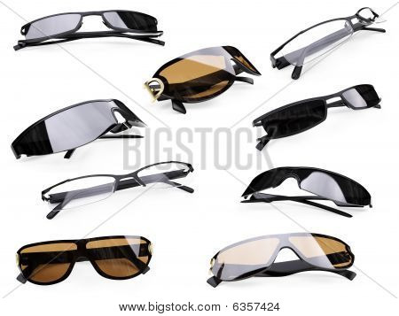 Collage Of Isolated Sunglasses