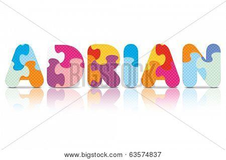 ADRIAN written with alphabet puzzle - vector illustration