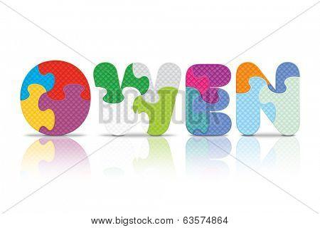 OWEN written with alphabet puzzle - vector illustration
