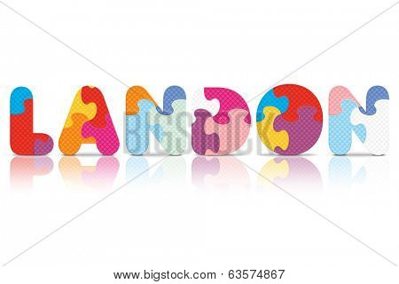 LANDON written with alphabet puzzle - vector illustration