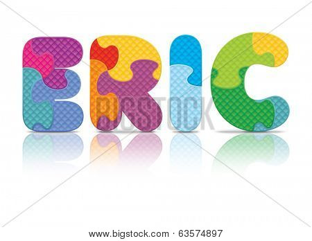 ERIC written with alphabet puzzle - vector illustration
