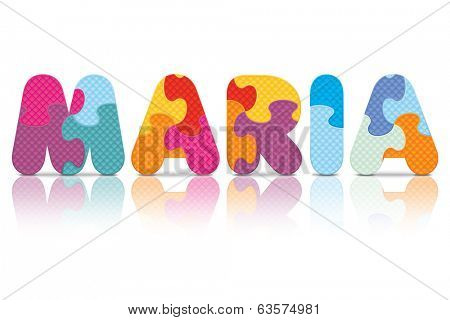 MARIA written with alphabet puzzle - vector illustration
