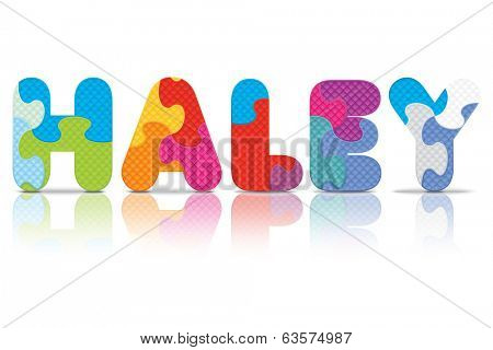 HALEY written with alphabet puzzle - vector illustration