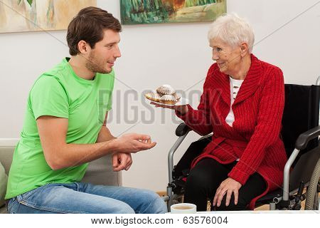 Man Visiting His Disabled Aunt