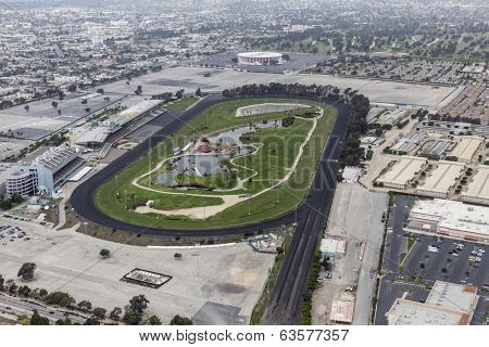 INGLEWOOD, CALIFORNIA - March 22, 2014: Aerial of historic Hollywood Park race track which recently closed to make way for 3000 home mixed use development.