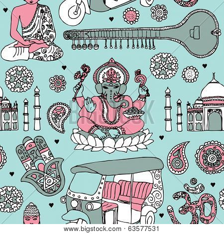 Seamless ganesha sitar buddha and taj mahal travel icons of india illustration background pattern in vector