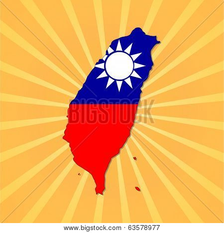 Taiwan map flag on sunburst vector illustration